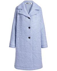 McQ Oversized Wool-blend Knee Length Coat - Blue