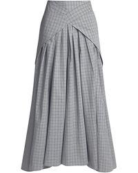 Teija Brooke Plaid Tie Asymmetric Maxi Skirt - Gray