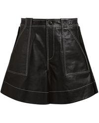 Ganni Topstitched Lamb Leather Shorts - Black