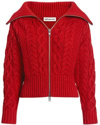 Self-Portrait Off-the-shoulder Cable Knit Cropped Cardigan - Red