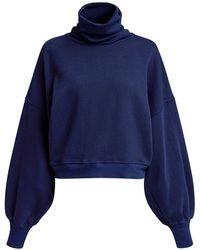 Agolde Balloon Sleeve Turtleneck Sweatshirt - Blue