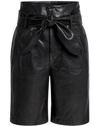 Marissa Webb Brennan Leather Knee Length Bermuda Short - Black
