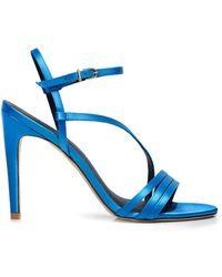 Tibi Vivian Satin Heeled Sandals - Blue