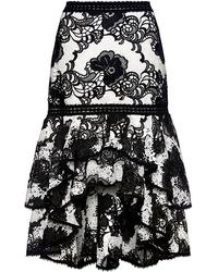 Alexis Halima Floral Lace Ruffle Hi-low Flared Skirt - Black