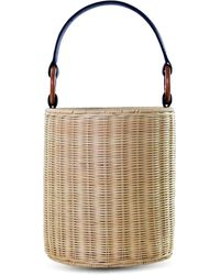 Kayu Reta Wicker Bucket Handbag - Black