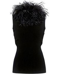 Boutique Moschino - Feather-collar Sleeveless Knit Top - Lyst