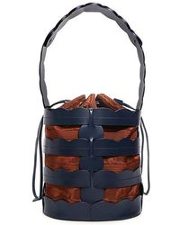 Trademark - Scallop Hesse Canvas Leather Bucket Bag - Lyst