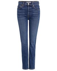 RE/DONE - High-rise Ankle Crop Skinny Jeans - Lyst