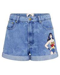 Paul & Joe Carter Wonder Woman Denim Shorts - Blue