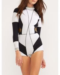 Cynthia Rowley Gold Buckle Colorblock Wetsuit - Black