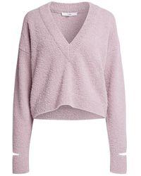Tibi Boucle Alpaca Slit Cuff V-neck Sweater - Pink