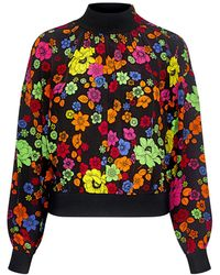 Boutique Moschino High Neck Floral Blouse - Black