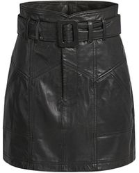 Marissa Webb Claire Belted Leather Mini Skirt - Black