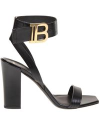 Balmain Star Sandal In Black Leather