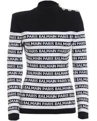 Balmain Paris Jacquard Viscose Yarn Top - White