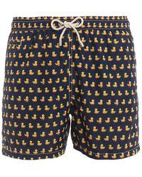 Mc2 Saint Barth Lighting Micro Duck Print Swim Shorts - Blue