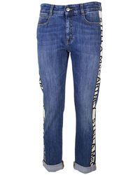 Stella McCartney Jeans cropped fascia logo - Blu