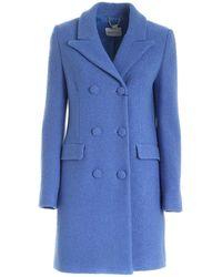 be Blumarine Viscose And Virgin Wool Coat In Light Blue
