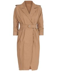 Liu Jo Stretch Cotton Belted Coat - Natural