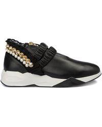 Loriblu Pearl Embellished Leather Slip On Trainers - Black