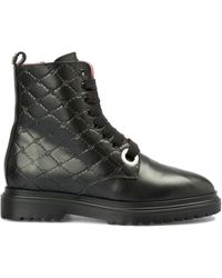 Blumarine Embossed Logo Quilted Leather Ankle Boots - Black