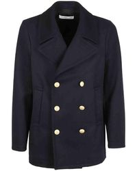Department 5 Marine Buttons Pea Jacket - Blue