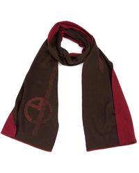 Armani Logo Print Wool Blend Scarf - Brown