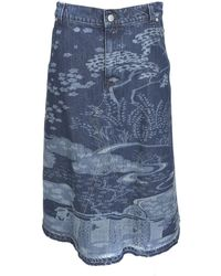 RED Valentino Oriental Toile De Jouy Motif Skirt In Blue