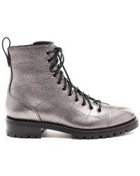 Jimmy Choo Cruz Laminated Leather Booties - Metallic