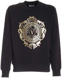 Versace Jeans Couture Felpa Nera Con Logo V-Emblem Baroque - Nero