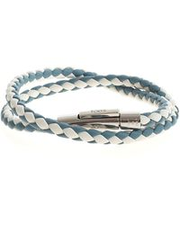 Tod's Bracciale intrecciato azzurro e bianco - Blu