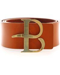 Ballantyne Logo Buckle Belt In Rust Color - Brown