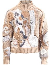 Alberta Ferretti Multicolor Intarsia Sweater - Brown
