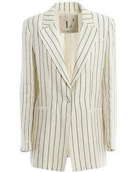 L'Autre Chose Linen Blend Striped Blazer - Natural