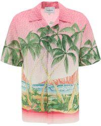 CASABLANCA Short-sleeve Printed Linen Shirt - Green