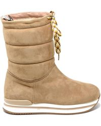 Hogan Quilted Suede Booties - Natural
