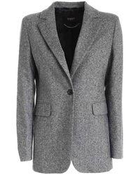 Seventy Single-breasted Jacket In Grey Melange - Black