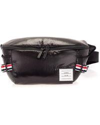 Thom Browne Logo Label Waist Bag In Black