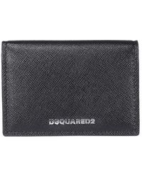 DSquared² Saffiano Leather Bifold Logo Wallet - Black