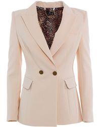 Elisabetta Franchi Double Crepe Suit - Natural