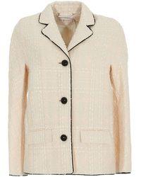 Tory Burch Tweed Blazer - Natural