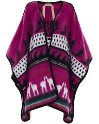 N°21 Jacquard Decoration Cape In Pink