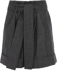 P.A.R.O.S.H. Wool Blend High Rise Shorts - Grey