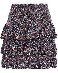 Michael Kors Flounced Floral Mini Skirt - Multicolor