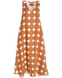 Le Sarte Pettegole Oversized Dark Orange Dress - White