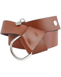 Peserico Cintura in pelle liscia con charm logo - Marrone