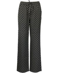 Michael Kors Polka Dots Viscose Trousers - Black