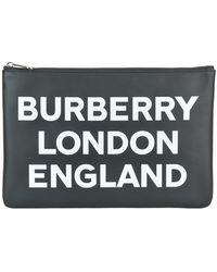 Burberry Logo-printed Clutch - Black