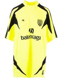 Balenciaga Soccer T-shirt In Neon Yellow