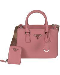 Prada Logo Leather Handbag In Pink